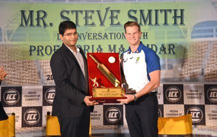 Mr Shashwat Goenka President Indian Chamber of Commerce felicitates Steve Smith Captain of the Australian Cricket team